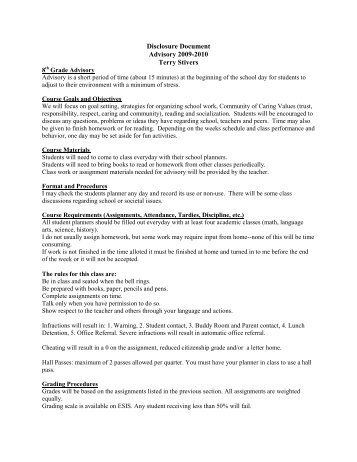 Disclosure Document Advisory 2009-2010 Terry Stivers