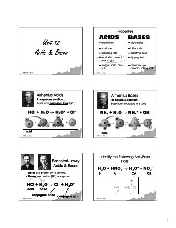 Unit 12 Aid & B Acids & Bases - Greenwich Public Schools