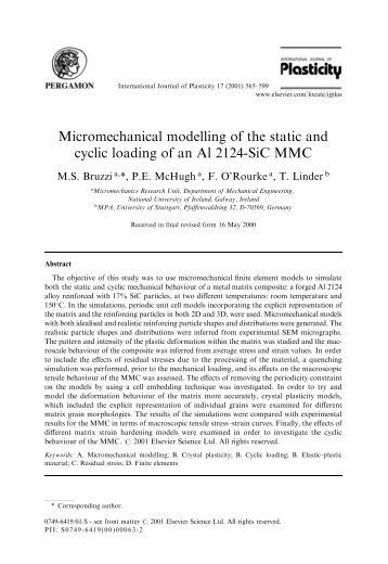Micromechanical modelling of the static and cyclic ... - ResearchGate