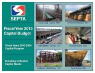Fiscal Year 2013 Capital Budget - Septa