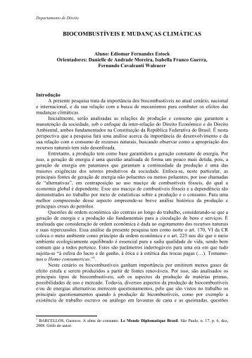 BIOCOMBUSTÍVEIS E MUDANÇAS CLIMÁTICAS - PUC-Rio