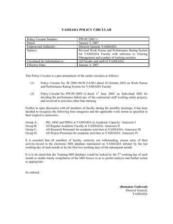 Policy Circular 2007-08 - yashada