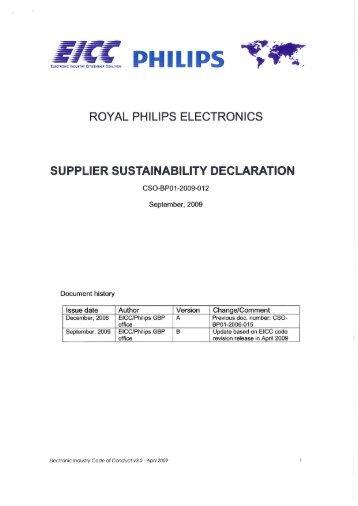 Supplier Sustainability Declaration - Philips