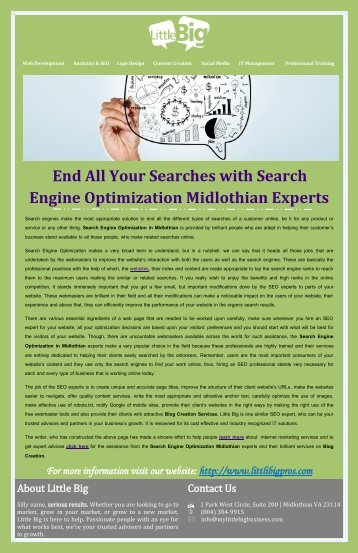 End All Your Searches with Search Engine Optimization Midlothian Experts