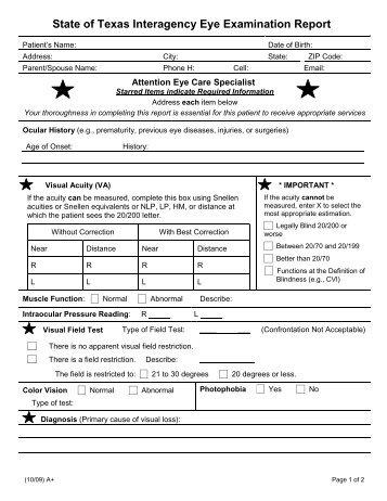Aviation Medical Services Eye Examination Form - Qantas
