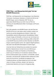 FWS Filter- und Wassertechnik jetzt Teil der ... - BAUER Umwelt GmbH