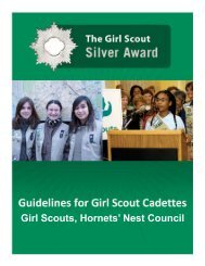 Silver Award Guidelines - the Girl Scouts, Hornets' Nest Council.