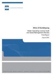 Shire of Dumbleyung Water Operating Licence Audit and Asset ...