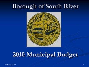 2010 Budget Presentation - Borough of South River