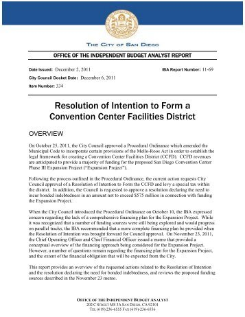 Resolution of Intention to Form a Convention ... - City of San Diego