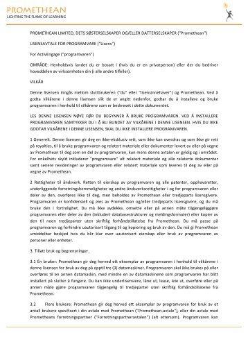 Lisensavtale for ActivEngage-brukere - Promethean Planet