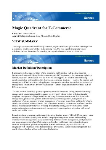 Magic Quadrant for E-Commerce - Tecla.it