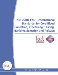 International Standards for Cord Blood Collection, Processing, Testing