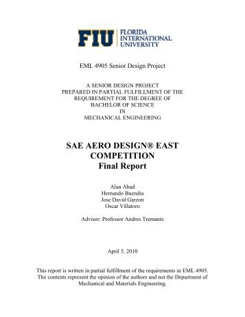 SAE AERO DESIGN® EAST COMPETITION Final Report