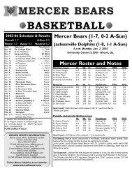 Game Notes - Mercer University