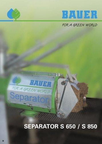 SEPARATOR S 650 / S 850 - Bauer