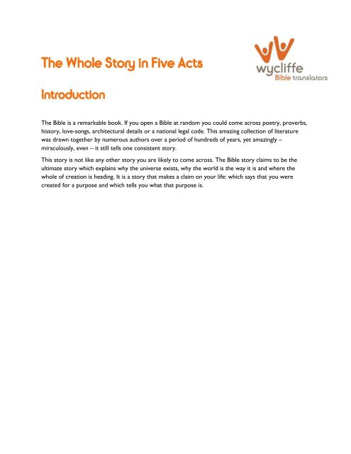 The Whole Story in Five Acts (pdf 389kB) - Wycliffe Bible Translators