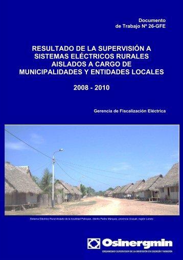 resultado de la supervisión a sistemas eléctricos rurales aislados a ...