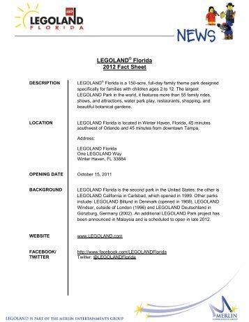 LEGOLAND Florida 2012 Fact Sheet