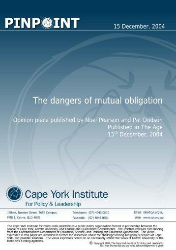 The dangers of mutual obligation - Kooriweb.org