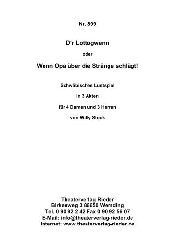 Darsteller - Theaterverlag Rieder