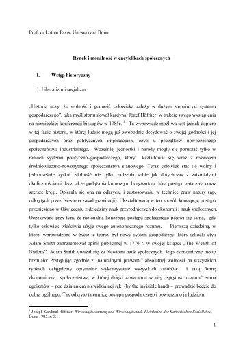1 Prof. dr Lothar Roos, Uniwersytet Bonn Rynek i ... - Ordo Socialis