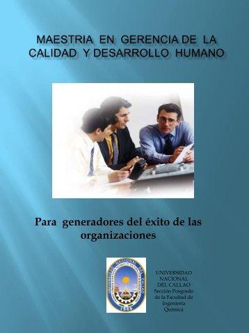 maestria en gerencia de la calidad y desarrollo humano