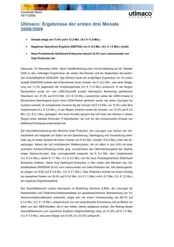 Utimaco: Ergebnisse der ersten drei Monate 2008/2009