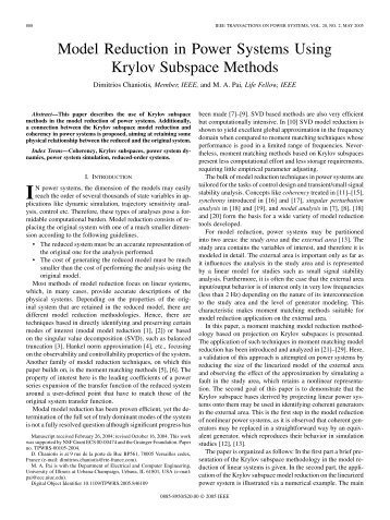 Model Reduction in Power Systems Using Krylov Subspace Methods