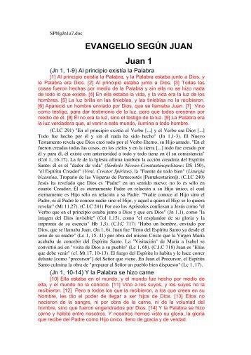 EVANGELIO SEGÚN JUAN Juan 1