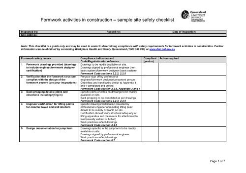 formwork activities in construction sample site safety checklist
