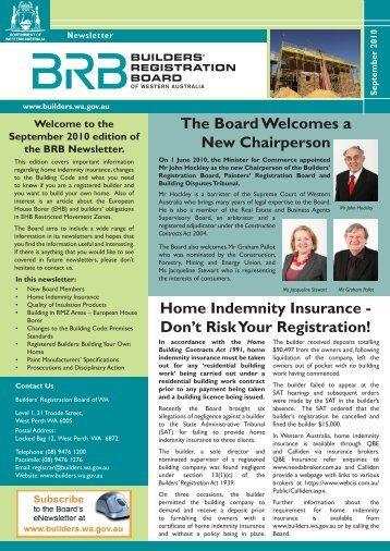 Builders Registration Board Newsletter - Building Commission