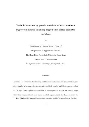 Variable selection by pseudo wavelets in heteroscedastic ...