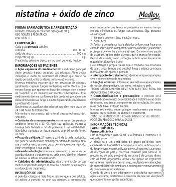nistatina + óxido de zinco - Medley