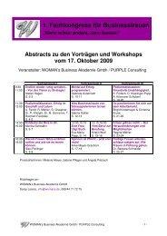1. Fachkongress für Businessfrauen - WOMAN´s Business Akademie
