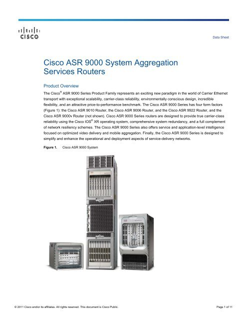 Cisco ASR 9000 Data Sheet - LightRiver Technologies