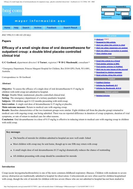 Efficacy of a small single dose of oral dexamethasone for ... - sepeap