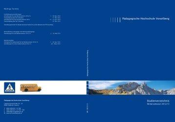 Studienverzeichnis WS 2012-2013 - Pädagogische Hochschule ...