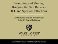 Preserving and Sharing: Bridging the Gap Between ILL and Special ...