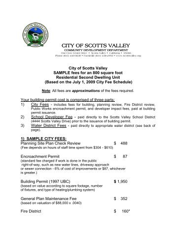 Sample Accessory Dwelling Unit Fees - City of Scotts Valley
