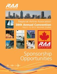 Sponsorship Opportunities - Regional Airline Association