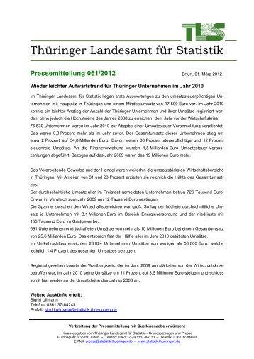 Pressemitteilung 061/2012 - Thüringer Landesamt für Statistik