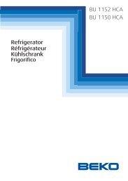 BU 1152 HCA BU 1150 HCA Refrigerator Réfrigérateur Kühlschrank