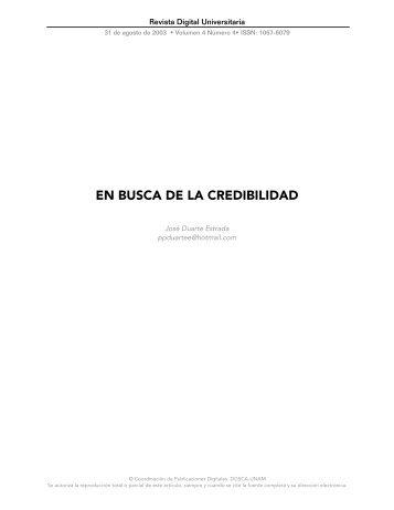 en busca de la credibilidad - Revista Digital Universitaria - UNAM
