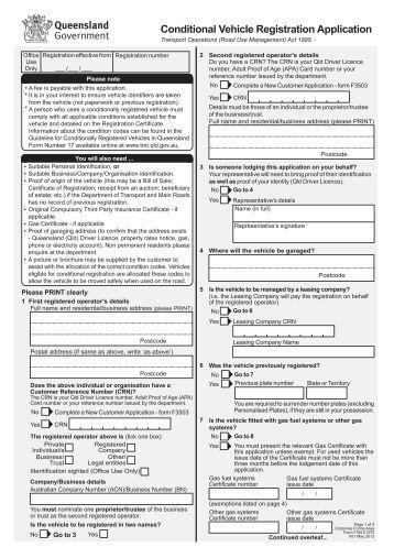 Vehicle Registration Application Support Site For Queensland