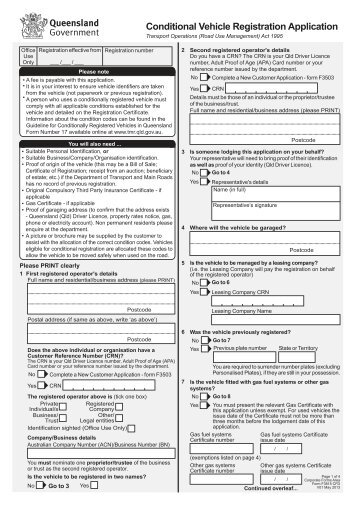 Conditional Vehicle Registration Transfer Application