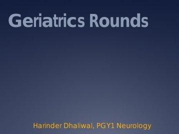Geriatrics Rounds - Department of Medicine