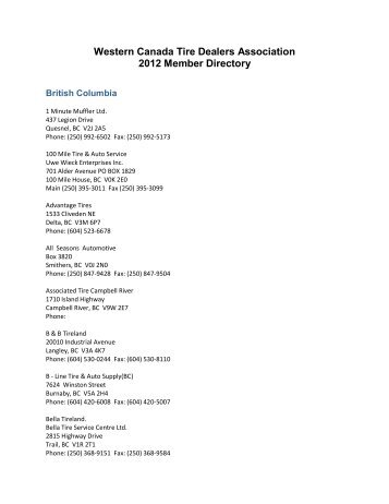 Western Canada Tire Dealers Association 2012 Member Directory