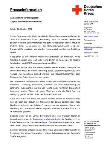 16. Oktober 2012 - Ortsverein Lehrte - DRK