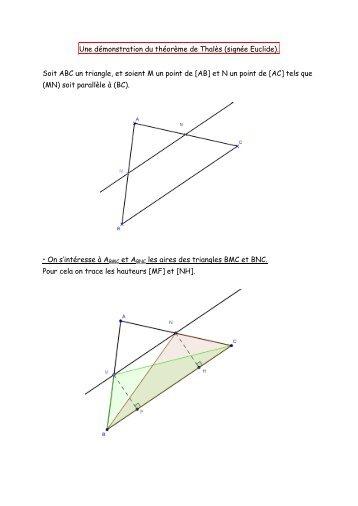 Une démonstration du théorème de Thalès (signée Euclide). Soit ...